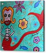 Day Of The Dead Mermaid Acrylic Print