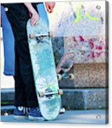 Detail Of Skateboard And Legs Acrylic Print