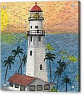Diamond Head Lighthouse Hi Nautical Chart Map Art Acrylic Print