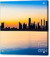 Dubai Skyline At Dusk Acrylic Print