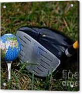 Earth Golf Ball And Golf Club Acrylic Print