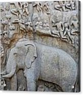 Elephant Sculpture At Mamallapuram  Acrylic Print