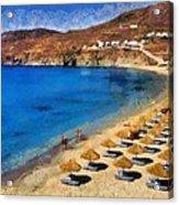 Elia Beach In Mykonos Island Acrylic Print