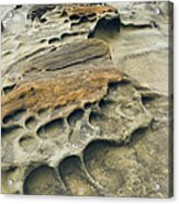 Eroded Sandstone Cliff Along The Ocean Acrylic Print