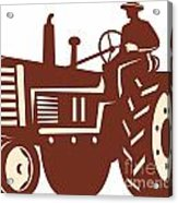 Farmer Driving Vintage Tractor Retro Acrylic Print by Aloysius Patrimonio