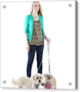 Female And Her Dogs Photographed Acrylic Print