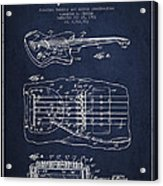Fender Floating Tremolo Patent Drawing From 1961 - Navy Blue Acrylic Print