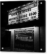 Film Noir Farewell My Lovely 1975 Brothel Guide Virginia St. Bookstore Reno Nevada 1979-2008 Acrylic Print