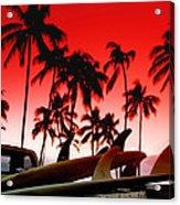 Fins N' Palms Acrylic Print by Sean Davey