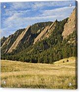 Flatirons With Golden Grass Boulder Colorado Acrylic Print