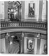 2 Floors Black And White Michigan State Capitol  Acrylic Print