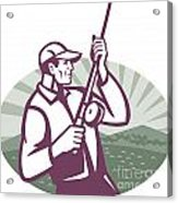 Fly Fisherman Fishing Retro Woodcut Acrylic Print