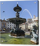 Fountain In The Pedro Iv Square Also Best Known As Rossio Square Acrylic Print