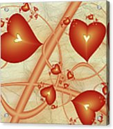 Fractal Red Hearts Acrylic Print