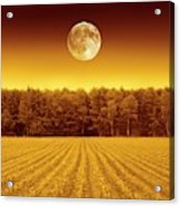 Full Moon Over A Field Acrylic Print