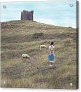 Girl With Sheeps Acrylic Print by Joana Kruse