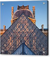 Glass Pyramid At Musee Du Louvre Acrylic Print