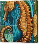 Golden Seahorse Acrylic Print