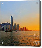 Golden Sunset In Hong Kong Acrylic Print