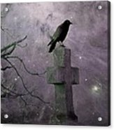 Surreal Crow In Gothic Purple Sky Acrylic Print