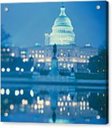Government Building Lit Up At Night Acrylic Print