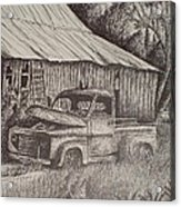 Grandpa's Old Barn With Chevy Truck Acrylic Print by Chris Shepherd