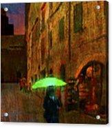 Green Umbrella Acrylic Print by Patrick J Osborne