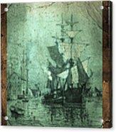 Grungy Historic Seaport Schooner Acrylic Print by John Stephens