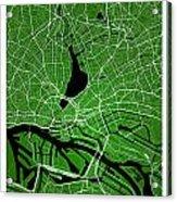 Hamburg Street Map - Hamburg Germany Road Map Art On Colored Bac Acrylic Print