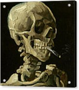 Head Of A Skeleton With A Burning Cigarette Acrylic Print