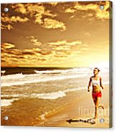 Healthy Woman Running On The Beach Acrylic Print by Anna Om