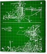 Helicopter Patent 1940 - Green Acrylic Print