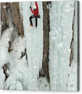 Ice Climber Ascending At Ouray Ice Acrylic Print