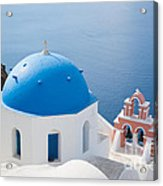Iconic Blue Domed Churches In Oia Santorini Greece Acrylic Print