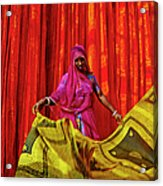 India, Rajasthan, Sari Factory Acrylic Print