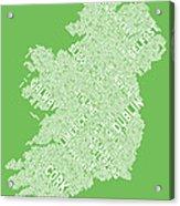 Ireland Eire City Text Map Acrylic Print