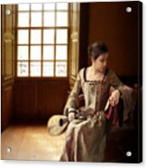 Lady In 16th Century Clothing With A Mandolin Acrylic Print
