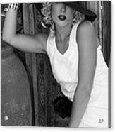 Lady In White Bw Acrylic Print