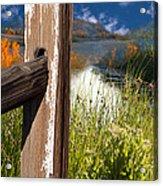 Landscape With Fence Pole Acrylic Print