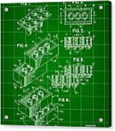Lego Patent 1958 - Green Acrylic Print