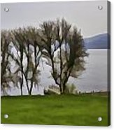 Loch Ness And Boat Jetty Next To Urquhart Castle Acrylic Print