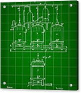 Louis Pasteur Beer Brewing Patent 1873 - Green Acrylic Print