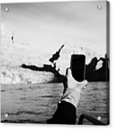 man taking photos with smartphone during boat ride along the colorado river in the grand canyon Ariz Acrylic Print