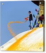 Man Throwing Orange Paint On Boudhanath Stupa Acrylic Print