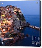 Manarola At Night In The Cinque Terre Italy Acrylic Print