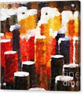 Many Wine Bottles Painting Acrylic Print by Magomed Magomedagaev