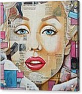 Marilyn In Pink And Blue Acrylic Print