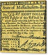 Massachusetts Banknote Acrylic Print