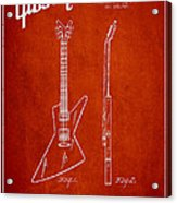 Mccarty Gibson Electrical Guitar Patent Drawing From 1958 - Red Acrylic Print