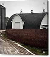 Michigan Barn With Grain Bins Rainy Day Usa Acrylic Print